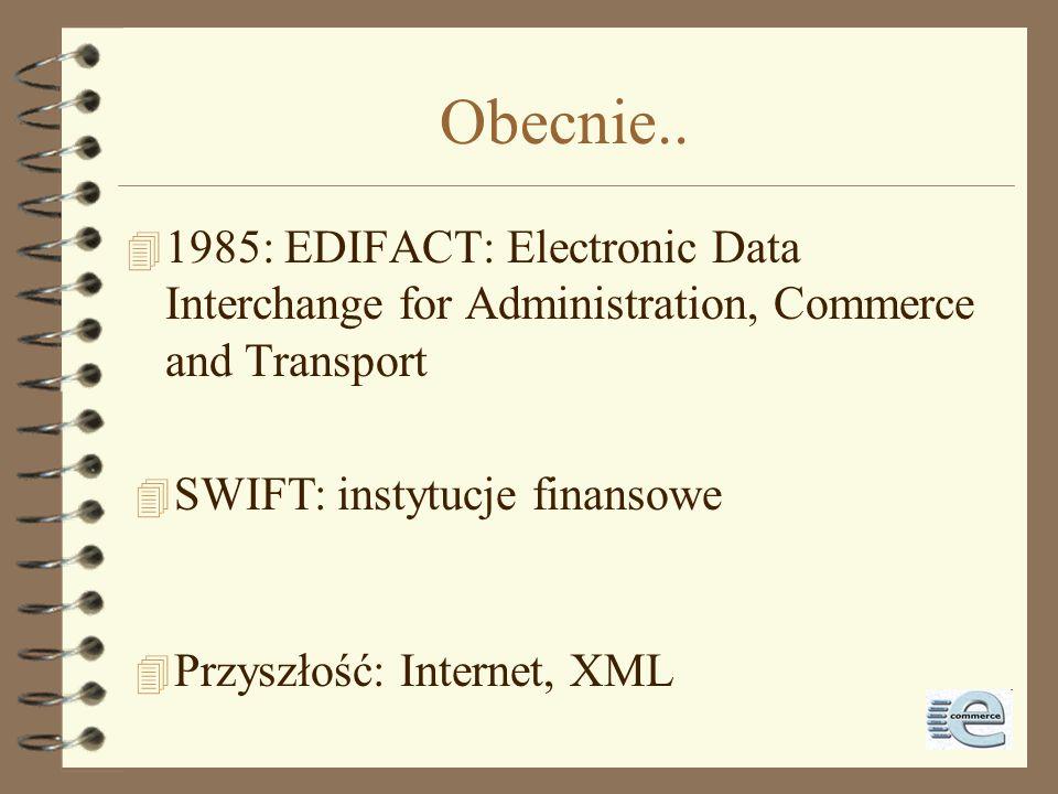 Standaryzacja EDI 4 1973: TDCC decyduje o opracowaniu standardów EDI 4 1975: pierwszy międzyprzemysłowy standard: air, motor, ocean, rail & some banki
