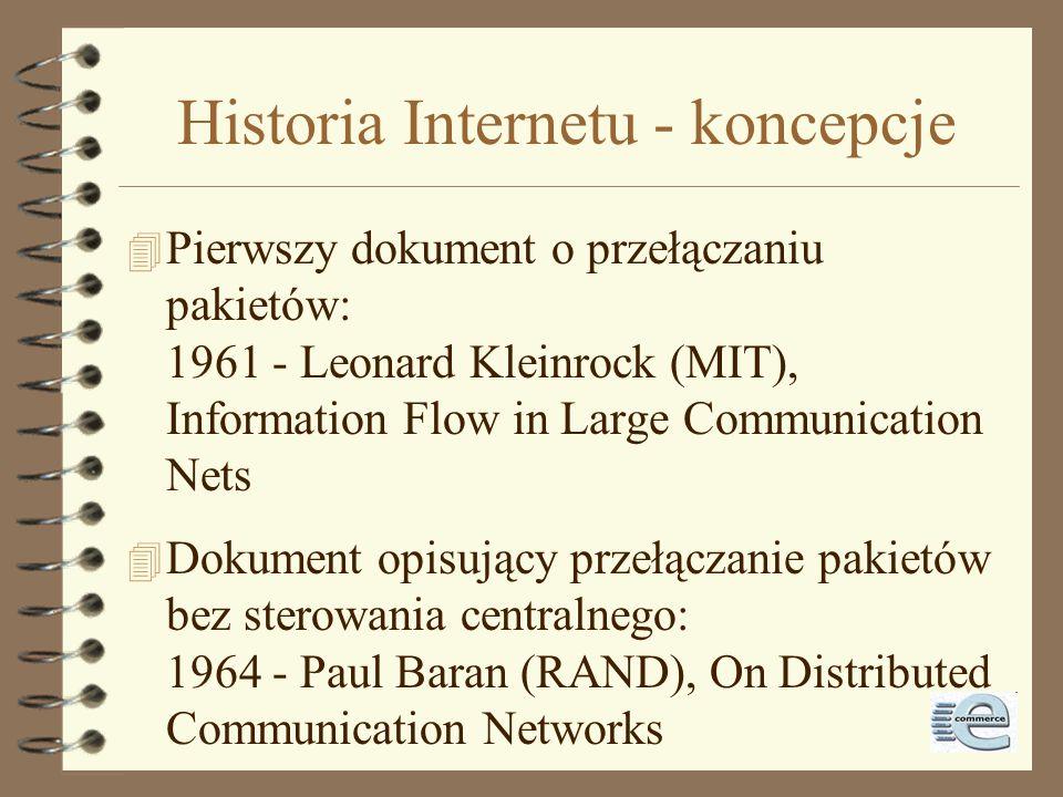 Historia Internetu - inspiracja 4 1957: ZSRR umieszcza Sputnika na orbicie Ziemi 4 1958: w odpowiedzi wewnątrz Departamentu Obrony (DoD) powstaje ARPA