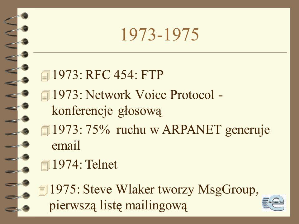 1971-1973 4 1971: @ wybrane dzięki znaczeniu at 4 1972: pierwsze chat między komputerami 4 1973: pierwsze połączenie międzynarodowe: University Colleg