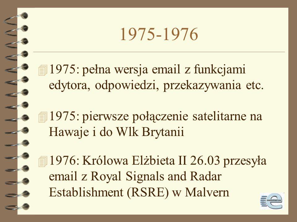 1973-1975 4 1973: Network Voice Protocol - konferencje głosową 4 1973: RFC 454: FTP 4 1973: 75% ruchu w ARPANET generuje email 4 1974: Telnet 4 1975: