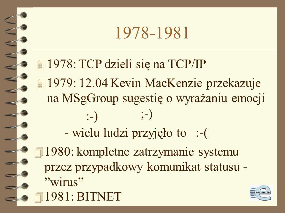 1975-1976 4 1975: pełna wersja email z funkcjami edytora, odpowiedzi, przekazywania etc. 4 1975: pierwsze połączenie satelitarne na Hawaje i do Wlk Br
