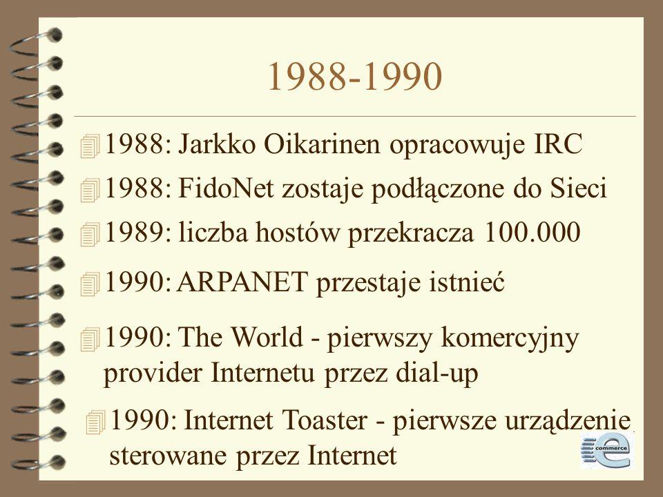 1987-1988 4 2.11.1988: robak internetowy zaraża ok. 6.000 z 60.000 węzłów 4 1987: liczba hostów przekracza 10.000 4 1988: Computer Emergency Response