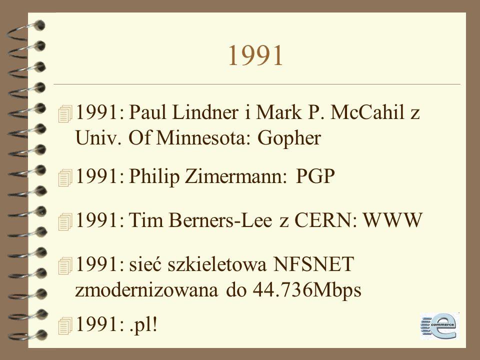 1988-1990 4 1989: liczba hostów przekracza 100.000 4 1988: Jarkko Oikarinen opracowuje IRC 4 1988: FidoNet zostaje podłączone do Sieci 4 1990: ARPANET