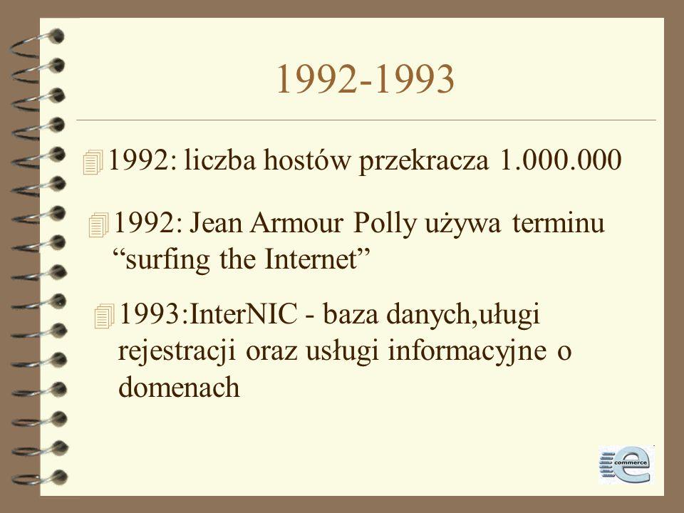 1991 4 1991: Paul Lindner i Mark P. McCahil z Univ. Of Minnesota: Gopher 4 1991: Tim Berners-Lee z CERN: WWW 4 1991: Philip Zimermann: PGP 4 1991: sie