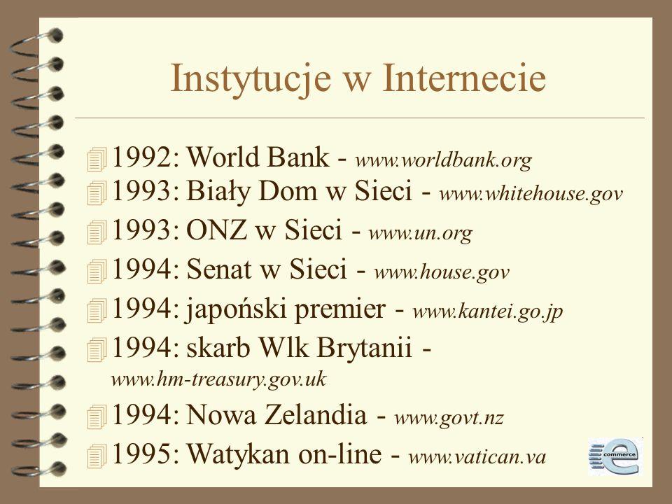 1992-1993 4 1992: liczba hostów przekracza 1.000.000 4 1992: Jean Armour Polly używa terminu surfing the Internet 4 1993:InterNIC - baza danych,uługi