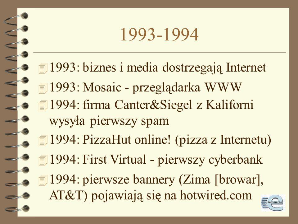 Instytucje w Internecie 4 1992: World Bank - www.worldbank.org 4 1993: Biały Dom w Sieci - www.whitehouse.gov 4 1993: ONZ w Sieci - www.un.org 4 1995: