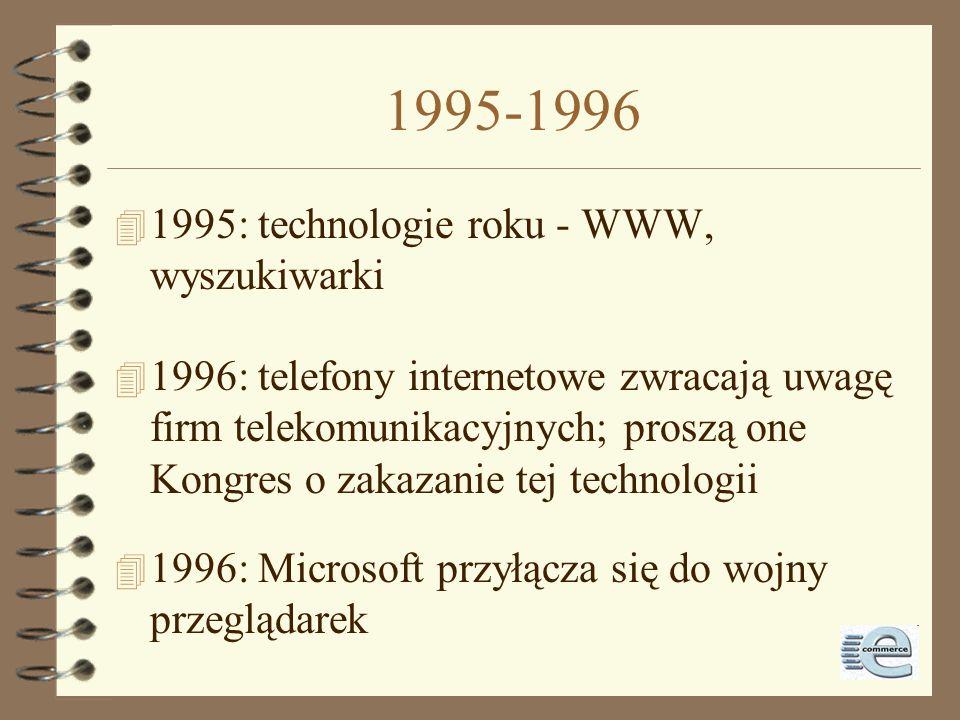 1995 4 1995: zaczynają działć tradycyjne dial-up: Compuserve, AOL, Prodigy 4 1995: pierwsze przedsiębiorstwa internetowe na NASDAQ (Netscape - 9.08) 4