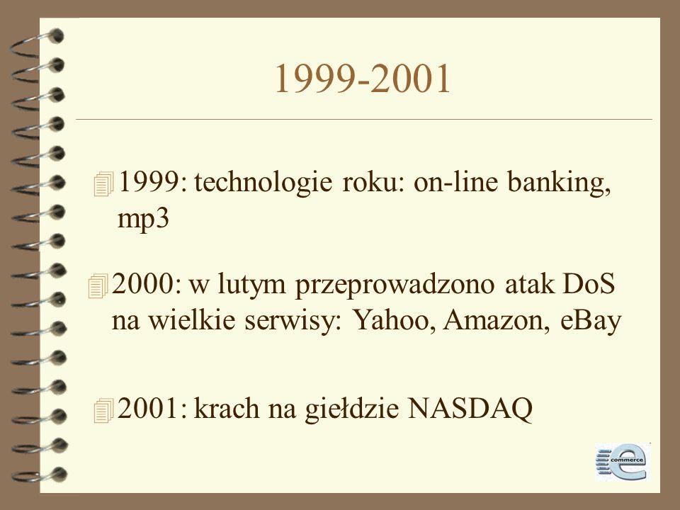 1998-1999 4 21.10.1998: zakaz opodatkowania transakcji w Internecie 4 1999: plany Internet2 4 1999: Parlament Europejski zakazuje web- pages caching p