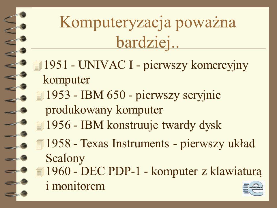 ENIAC 4 ENIAC - Electronic Numerical Integrator and Computer 4 skonstruowany jesienią 1945 przez Dr. Eckert and Dr. Mauchly 4 15.02.1946 przekazany do