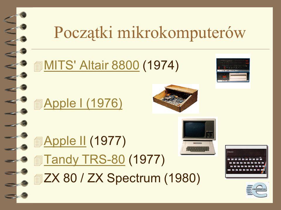 Początki mikrokomputerów 4 MITS Altair 8800 (1974) MITS Altair 8800 4 Apple I (1976) Apple I (1976) 4 Apple II (1977) Apple II 4 Tandy TRS-80 (1977) Tandy TRS-80 4 ZX 80 / ZX Spectrum (1980)