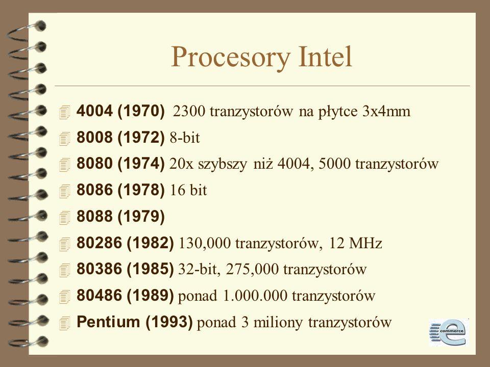 Procesory Intel 4004 (1970) 2300 tranzystorów na płytce 3x4mm 8008 (1972) 8-bit 8080 (1974) 20x szybszy niż 4004, 5000 tranzystorów 8086 (1978) 16 bit 4 8088 (1979) 80286 (1982) 130,000 tranzystorów, 12 MHz 80386 (1985) 32-bit, 275,000 tranzystorów 80486 (1989) ponad 1.000.000 tranzystorów Pentium (1993) ponad 3 miliony tranzystorów