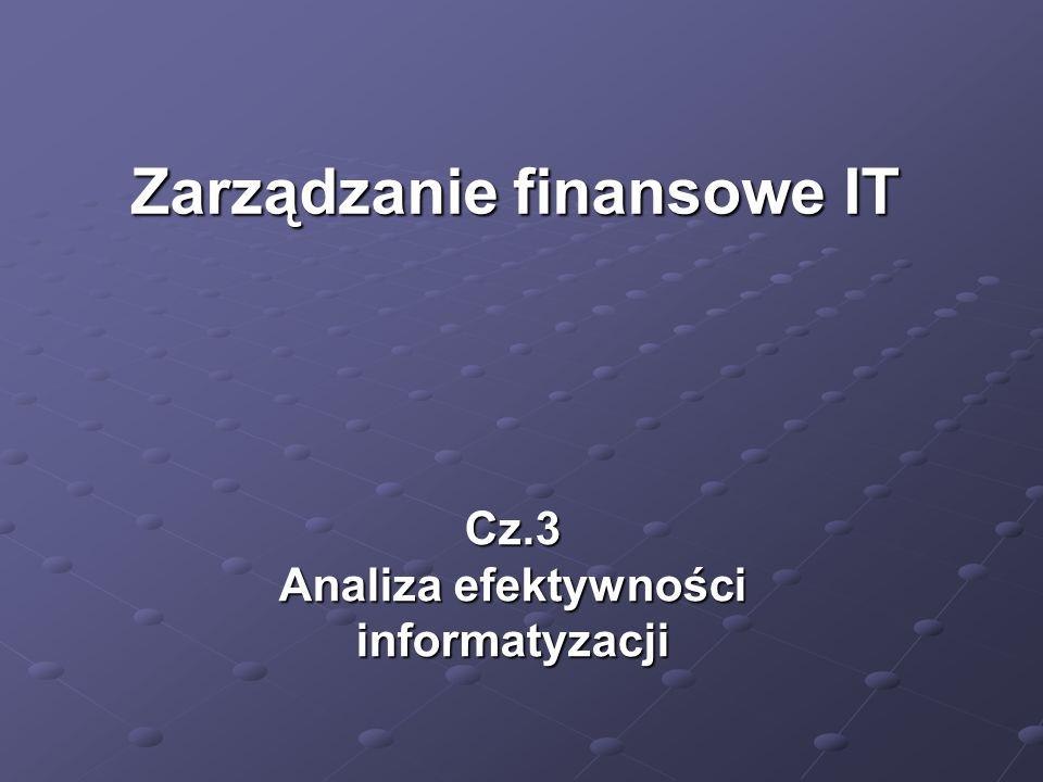 Cz.3 Analiza efektywności informatyzacji Zarządzanie finansowe IT