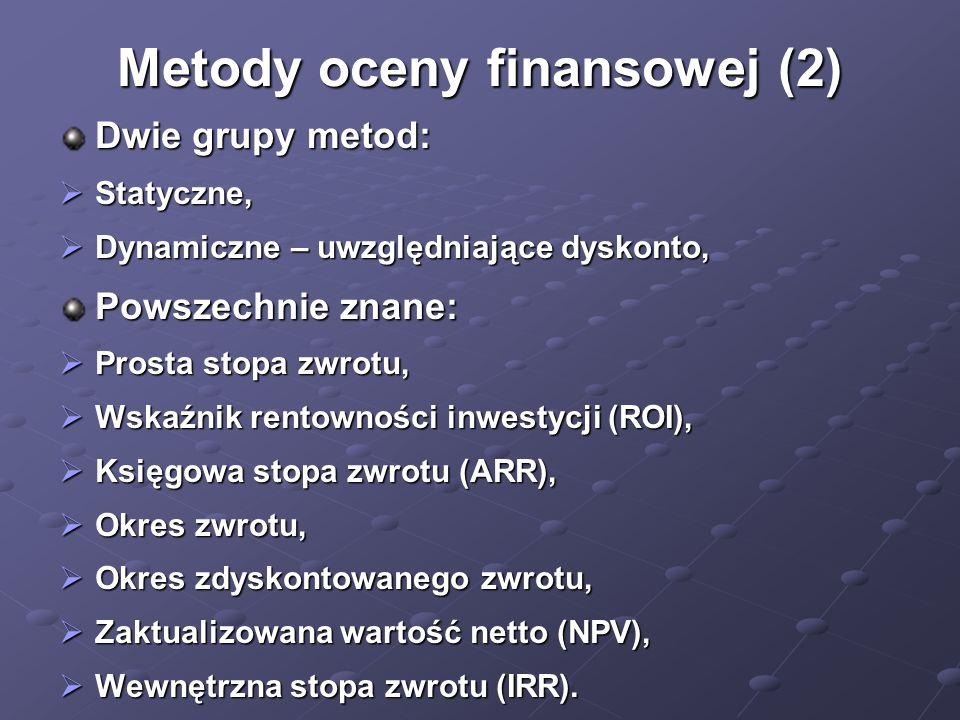 Metody oceny finansowej (2) Dwie grupy metod: Statyczne, Statyczne, Dynamiczne – uwzględniające dyskonto, Dynamiczne – uwzględniające dyskonto, Powsze