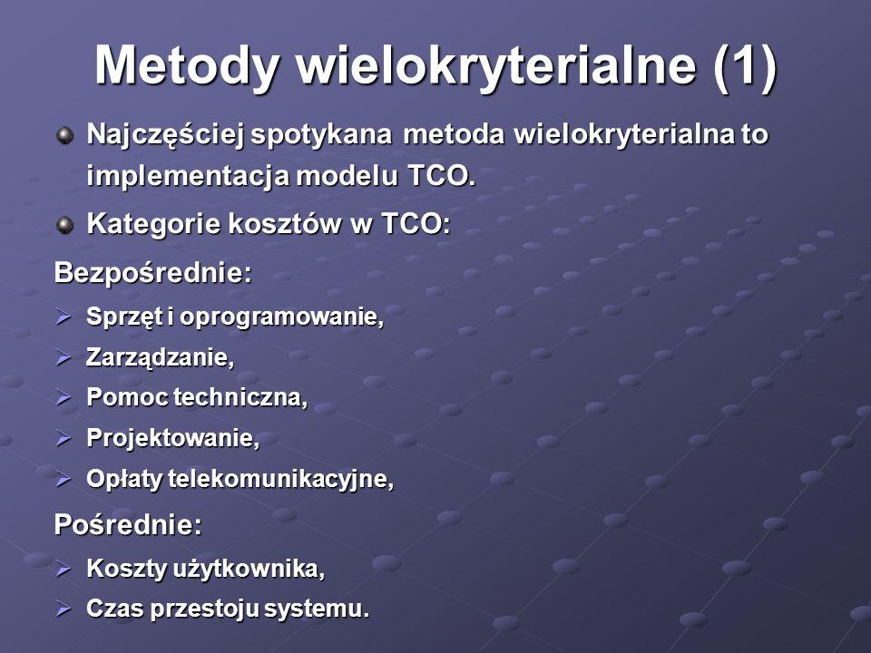 Metody wielokryterialne (1) Najczęściej spotykana metoda wielokryterialna to implementacja modelu TCO. Kategorie kosztów w TCO: Bezpośrednie: Sprzęt i
