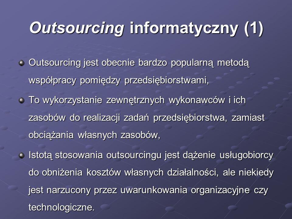 Outsourcing informatyczny (2) Wykorzystanie zasobów zewnętrznych: Ludzi, Ludzi, Sprzętu, Sprzętu, Wiedzy i umiejętności, Wiedzy i umiejętności, Częściowy (np.