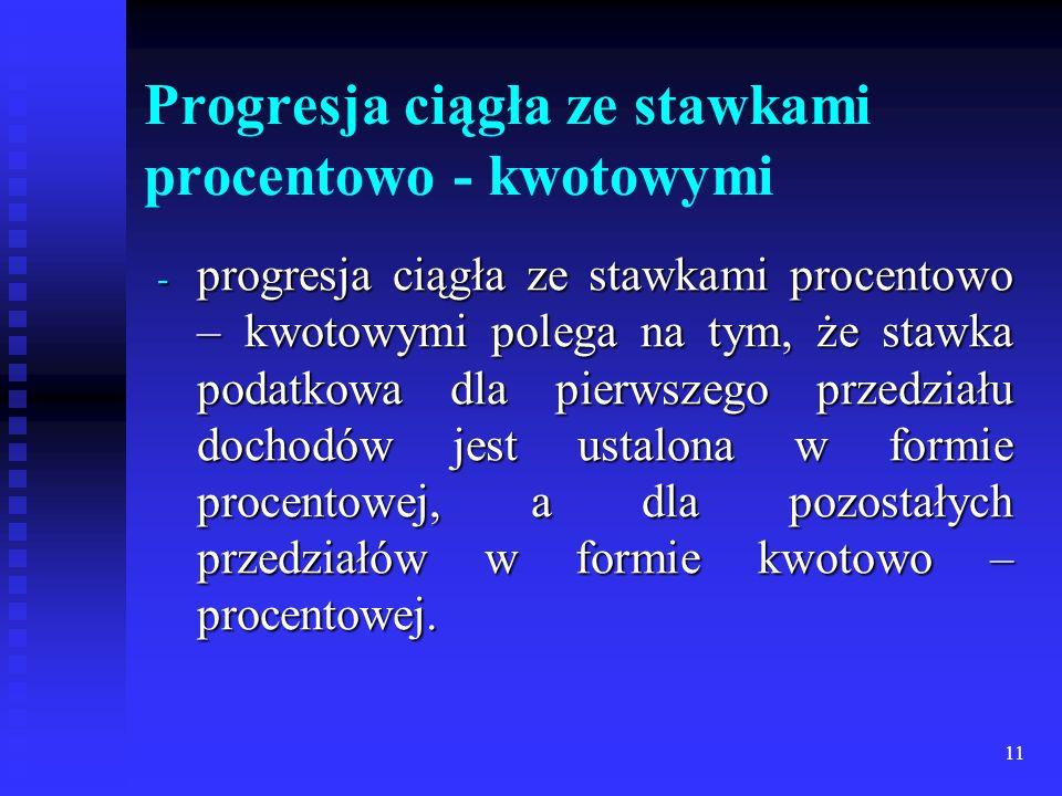 11 Progresja ciągła ze stawkami procentowo - kwotowymi - progresja ciągła ze stawkami procentowo – kwotowymi polega na tym, że stawka podatkowa dla pi