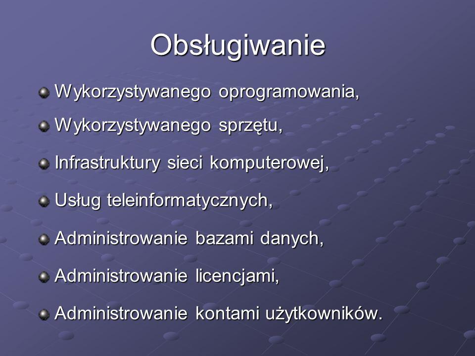 Obsługiwanie Wykorzystywanego oprogramowania, Wykorzystywanego sprzętu, Infrastruktury sieci komputerowej, Usług teleinformatycznych, Administrowanie