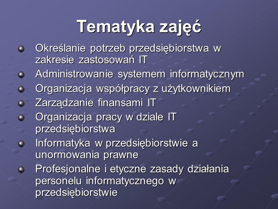 Tematyka zajęć Określanie potrzeb przedsiębiorstwa w zakresie zastosowań IT Administrowanie systemem informatycznym Organizacja współpracy z użytkowni