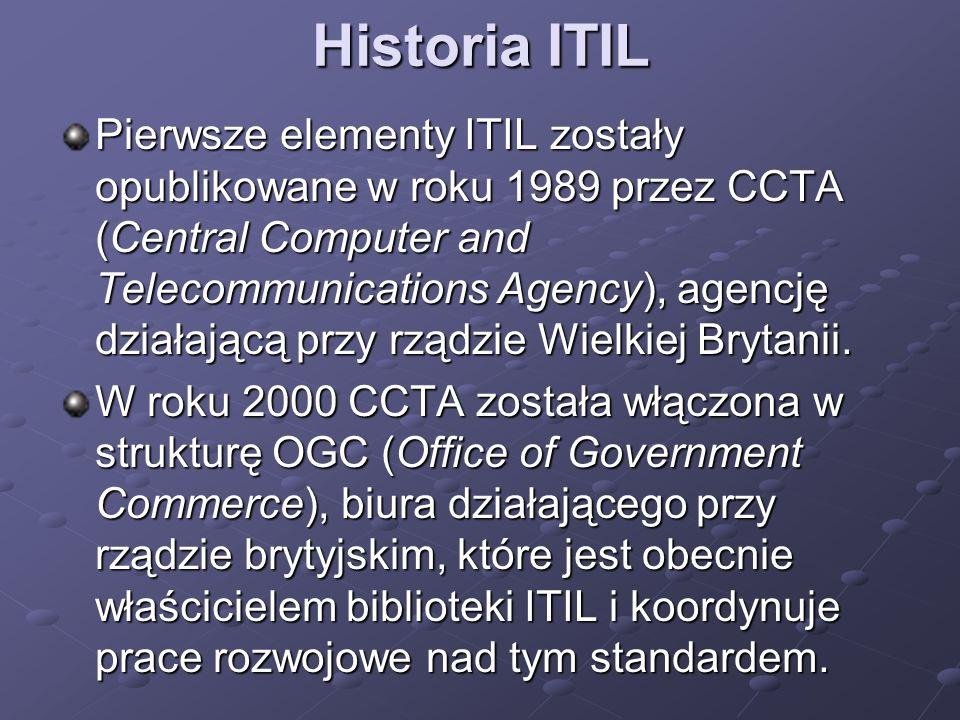Historia ITIL Pierwsze elementy ITIL zostały opublikowane w roku 1989 przez CCTA (Central Computer and Telecommunications Agency), agencję działającą