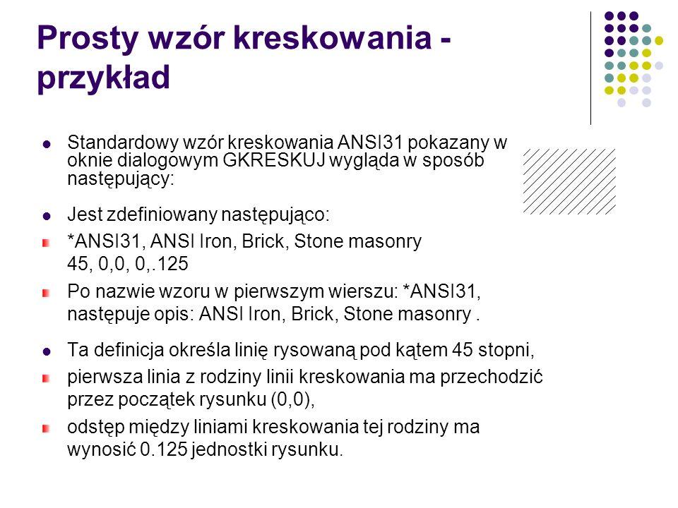 Prosty wzór kreskowania - przykład Standardowy wzór kreskowania ANSI31 pokazany w oknie dialogowym GKRESKUJ wygląda w sposób następujący: Jest zdefiniowany następująco: *ANSI31, ANSI Iron, Brick, Stone masonry 45, 0,0, 0,.125 Po nazwie wzoru w pierwszym wierszu: *ANSI31, następuje opis: ANSI Iron, Brick, Stone masonry.