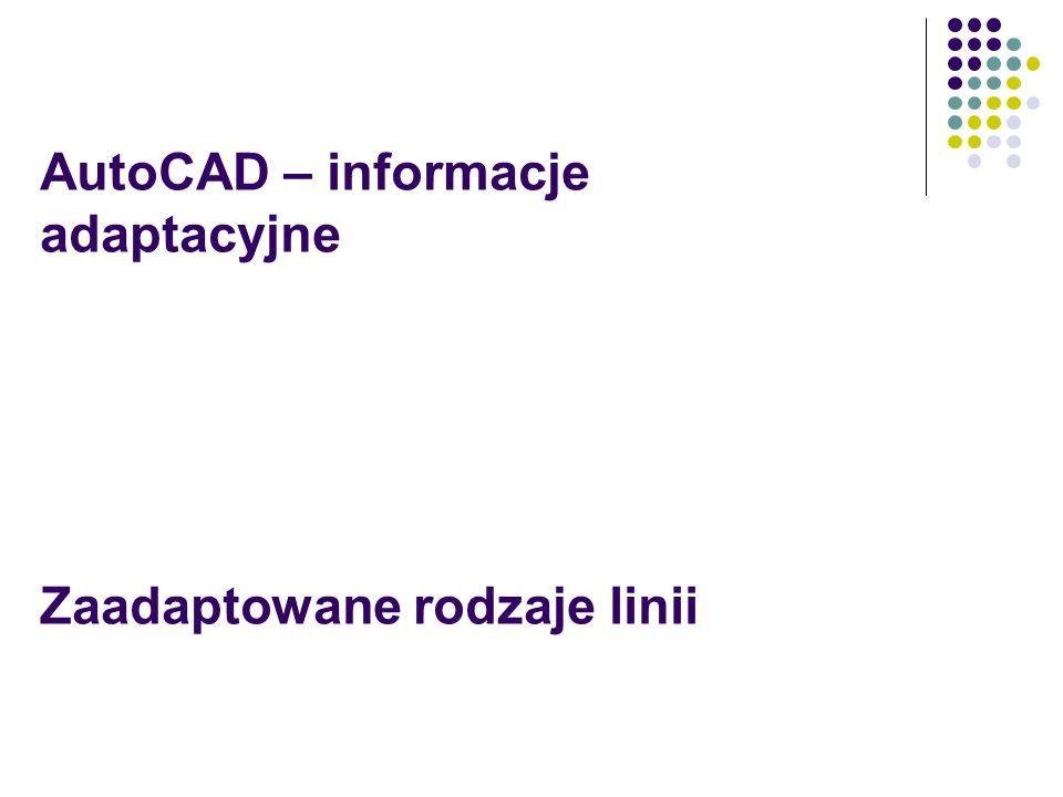 AutoCAD – informacje adaptacyjne Zaadaptowane rodzaje linii