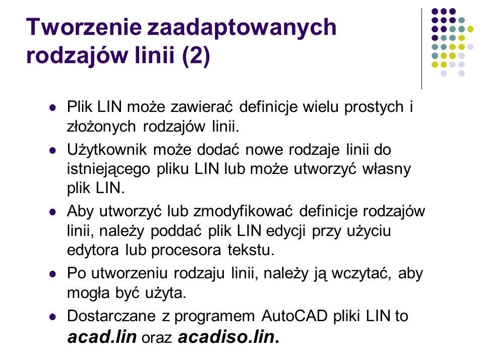 Tworzenie zaadaptowanych rodzajów linii (2) Plik LIN może zawierać definicje wielu prostych i złożonych rodzajów linii.