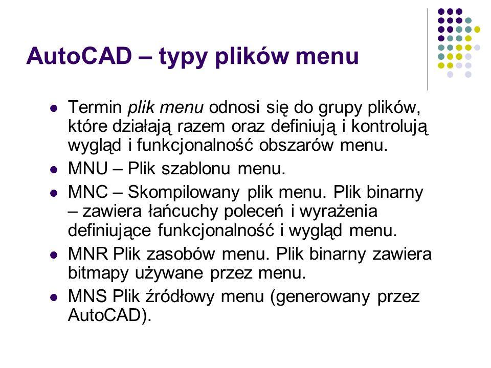 AutoCAD – typy plików menu Termin plik menu odnosi się do grupy plików, które działają razem oraz definiują i kontrolują wygląd i funkcjonalność obszarów menu.