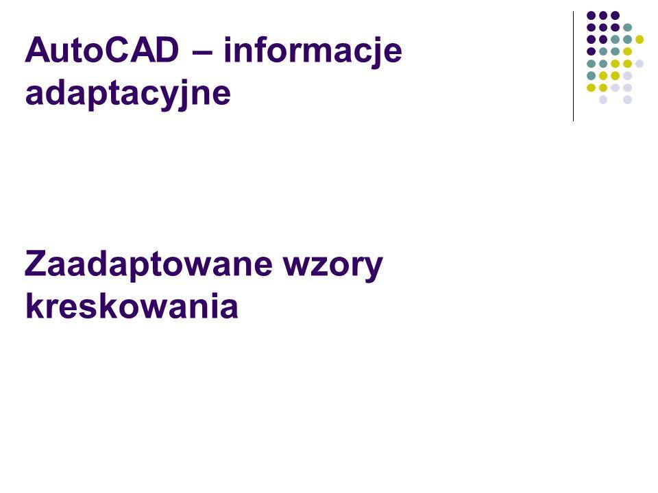 AutoCAD – informacje adaptacyjne Zaadaptowane wzory kreskowania