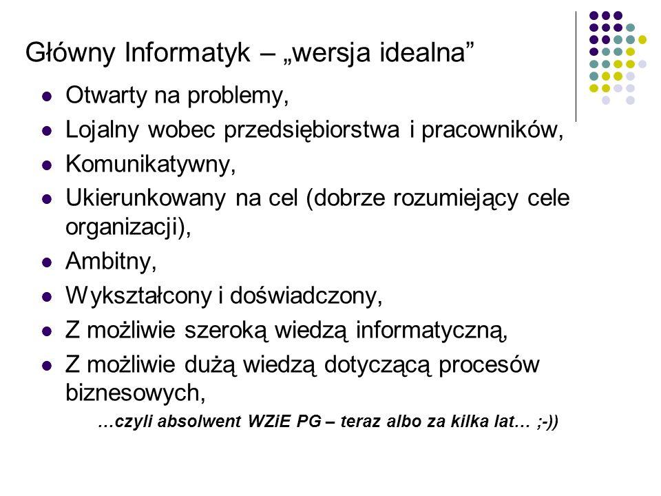 Główny Informatyk – wersja idealna Otwarty na problemy, Lojalny wobec przedsiębiorstwa i pracowników, Komunikatywny, Ukierunkowany na cel (dobrze rozu
