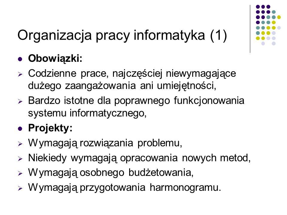 Organizacja pracy informatyka (1) Obowiązki: Codzienne prace, najczęściej niewymagające dużego zaangażowania ani umiejętności, Bardzo istotne dla popr