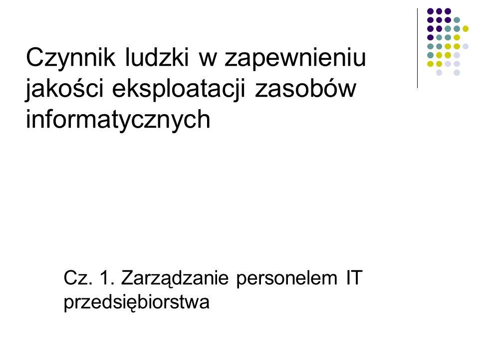 Cz. 1. Zarządzanie personelem IT przedsiębiorstwa Czynnik ludzki w zapewnieniu jakości eksploatacji zasobów informatycznych