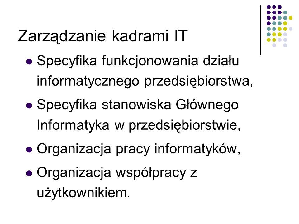 Zarządzanie kadrami IT Specyfika funkcjonowania działu informatycznego przedsiębiorstwa, Specyfika stanowiska Głównego Informatyka w przedsiębiorstwie