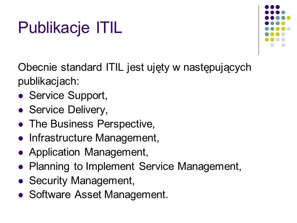 Publikacje ITIL Obecnie standard ITIL jest ujęty w następujących publikacjach: Service Support, Service Delivery, The Business Perspective, Infrastruc