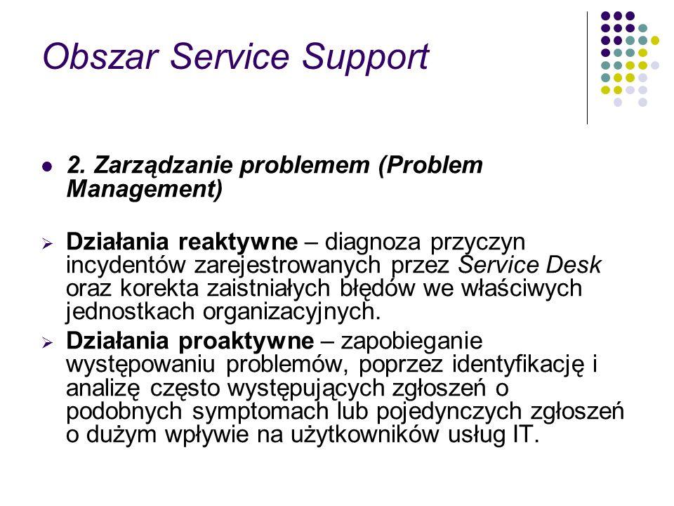 Obszar Service Support 2. Zarządzanie problemem (Problem Management) Działania reaktywne – diagnoza przyczyn incydentów zarejestrowanych przez Service