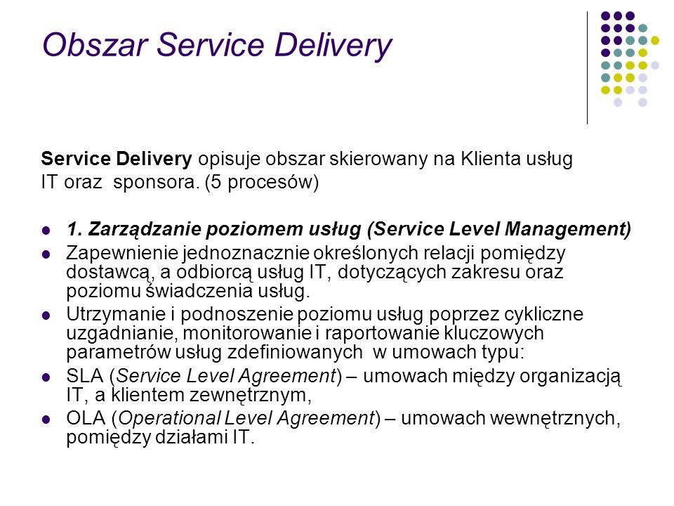 Obszar Service Delivery Service Delivery opisuje obszar skierowany na Klienta usług IT oraz sponsora. (5 procesów) 1. Zarządzanie poziomem usług (Serv