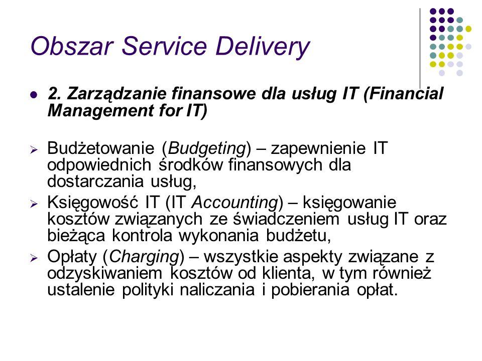 Obszar Service Delivery 2. Zarządzanie finansowe dla usług IT (Financial Management for IT) Budżetowanie (Budgeting) – zapewnienie IT odpowiednich śro