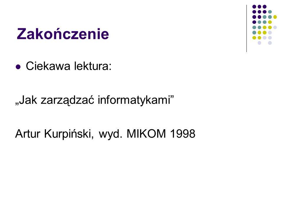 Zakończenie Ciekawa lektura: Jak zarządzać informatykami Artur Kurpiński, wyd. MIKOM 1998
