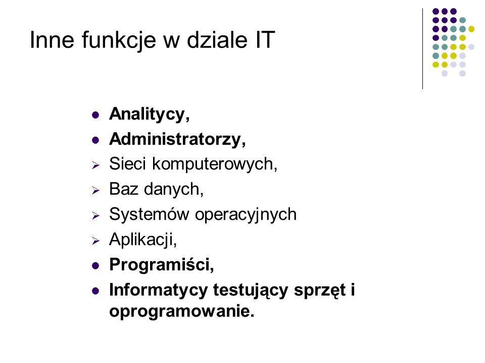 Inne funkcje w dziale IT Analitycy, Administratorzy, Sieci komputerowych, Baz danych, Systemów operacyjnych Aplikacji, Programiści, Informatycy testuj