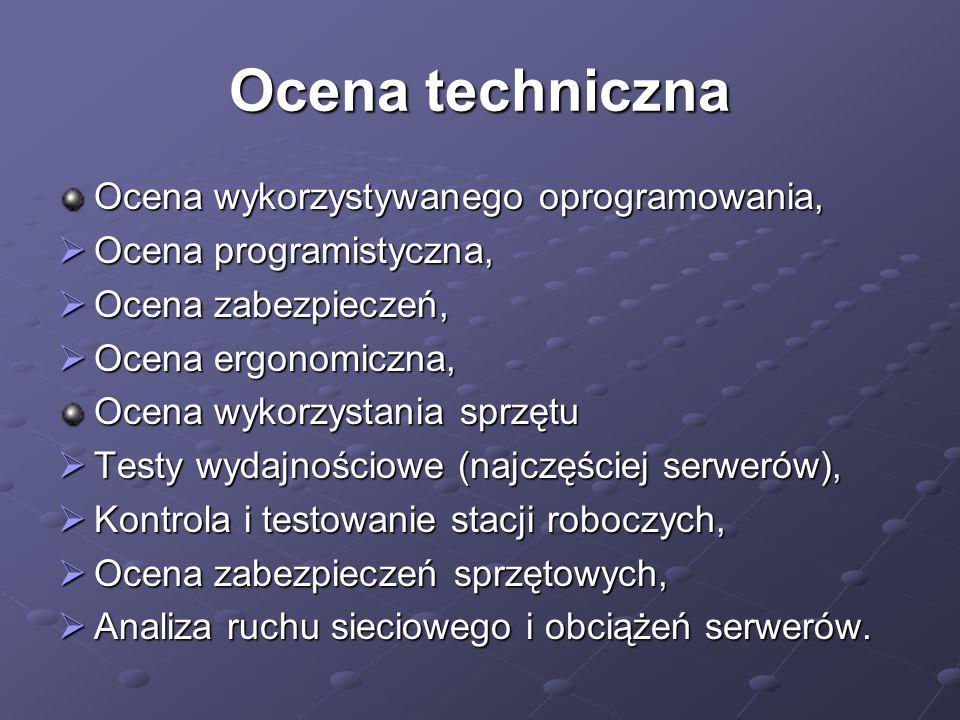 Ocena techniczna Ocena wykorzystywanego oprogramowania, Ocena programistyczna, Ocena programistyczna, Ocena zabezpieczeń, Ocena zabezpieczeń, Ocena ergonomiczna, Ocena ergonomiczna, Ocena wykorzystania sprzętu Testy wydajnościowe (najczęściej serwerów), Testy wydajnościowe (najczęściej serwerów), Kontrola i testowanie stacji roboczych, Kontrola i testowanie stacji roboczych, Ocena zabezpieczeń sprzętowych, Ocena zabezpieczeń sprzętowych, Analiza ruchu sieciowego i obciążeń serwerów.