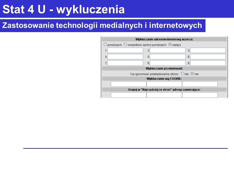 Zastosowanie technologii medialnych i internetowych Stat 4 U - wykluczenia