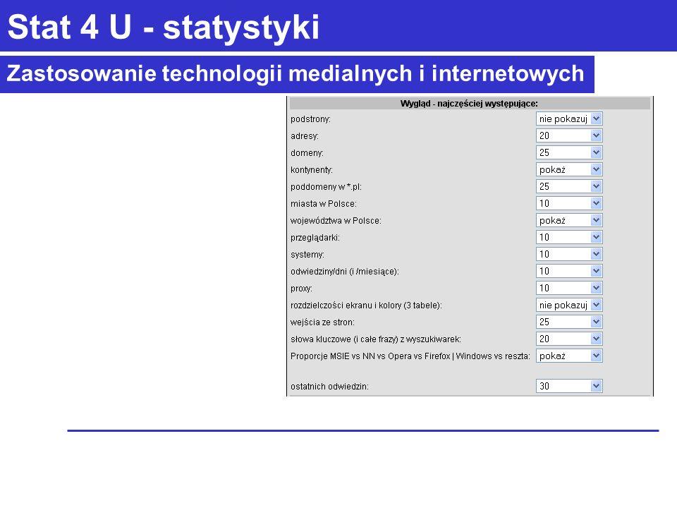 Zastosowanie technologii medialnych i internetowych Stat 4 U - statystyki