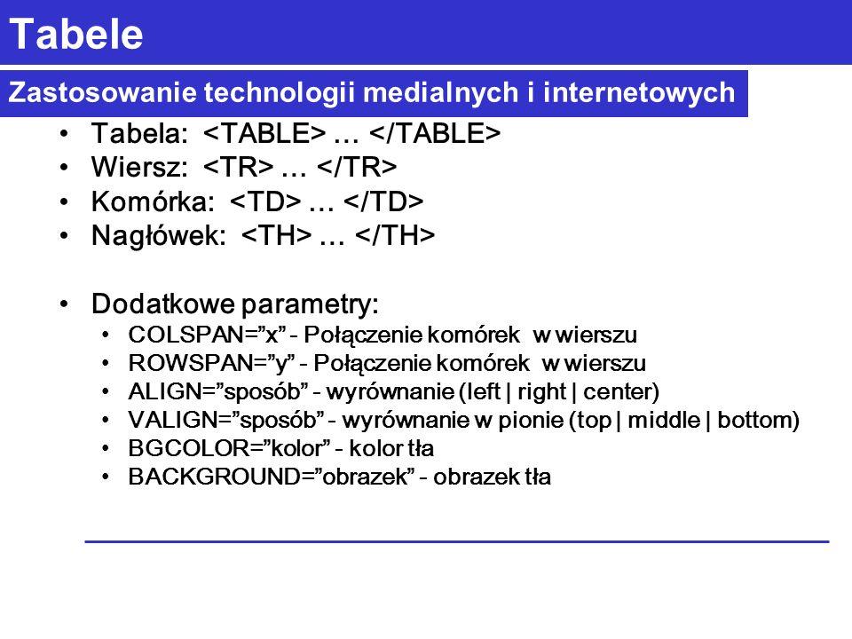 Zastosowanie technologii medialnych i internetowych Tabele Tabela: … Wiersz: … Komórka: … Nagłówek: … Dodatkowe parametry: COLSPAN=x - Połączenie komórek w wierszu ROWSPAN=y - Połączenie komórek w wierszu ALIGN=sposób - wyrównanie (left | right | center) VALIGN=sposób - wyrównanie w pionie (top | middle | bottom) BGCOLOR=kolor - kolor tła BACKGROUND=obrazek - obrazek tła
