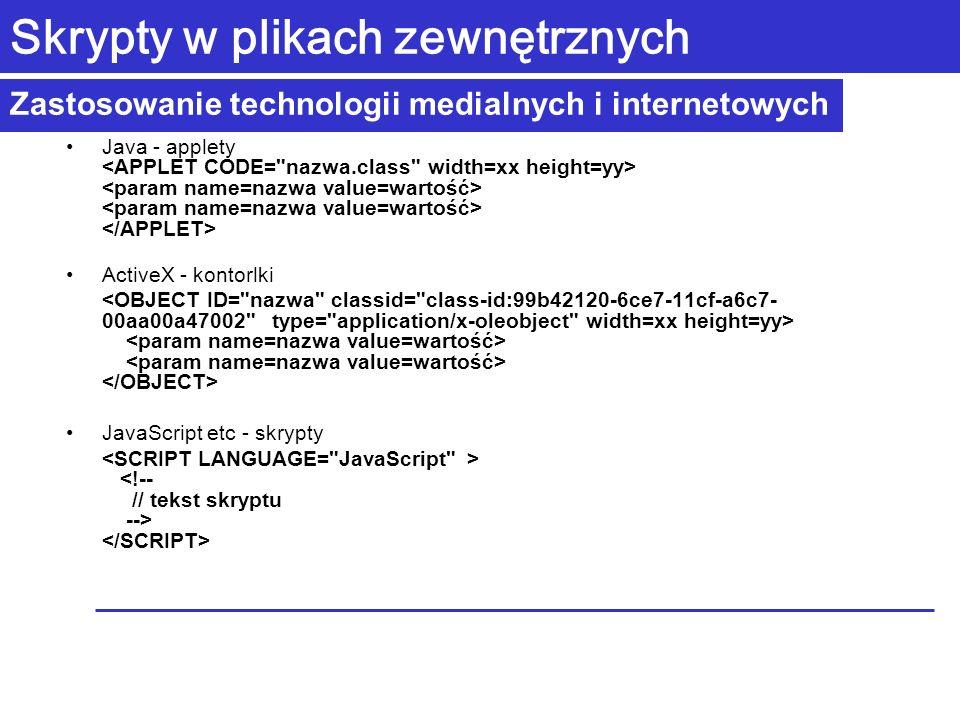 Zastosowanie technologii medialnych i internetowych Skrypty w plikach zewnętrznych Java - applety ActiveX - kontorlki JavaScript etc - skrypty