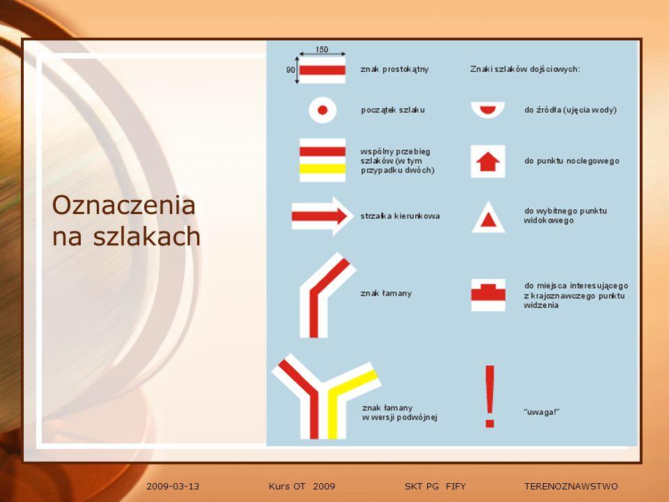 Kurs OT 2009 SKT PG FIFY TERENOZNAWSTWO2009-03-13 Definicja mapy: Zmniejszone przedstawienie na płaszczyźnie całości lub fragmentu powierzchni Ziemi charakteryzujące się: określoną konstrukcją matematyczną, zastosowaniem specjalnego systemu znaków (symboli kartograficznych), wyborem i uogólnieniem przedstawionych zjawisk.