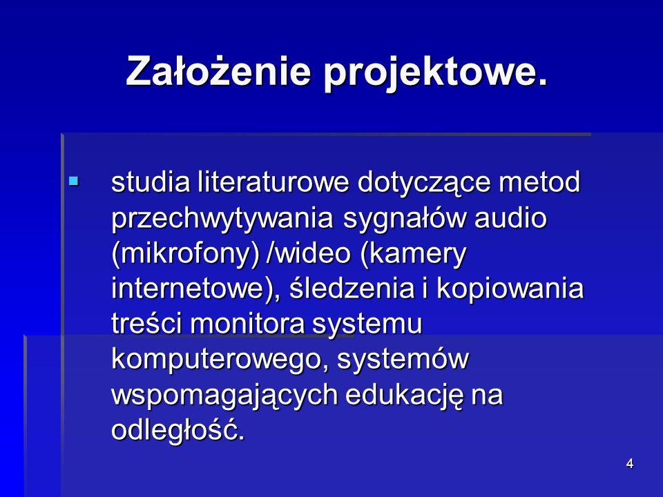4 Założenie projektowe. studia literaturowe dotyczące metod przechwytywania sygnałów audio (mikrofony) /wideo (kamery internetowe), śledzenia i kopiow