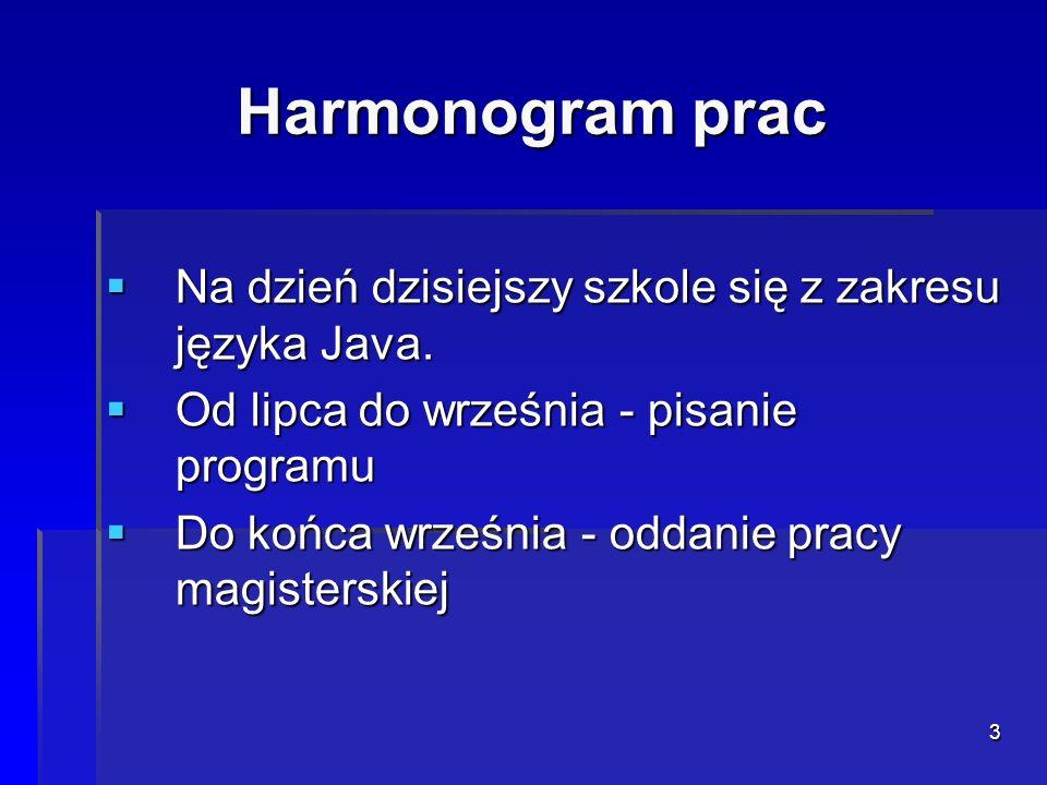 3 Harmonogram prac Na dzień dzisiejszy szkole się z zakresu języka Java. Na dzień dzisiejszy szkole się z zakresu języka Java. Od lipca do września -