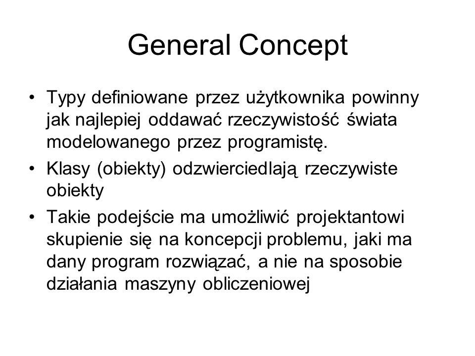 General Concept Typy definiowane przez użytkownika powinny jak najlepiej oddawać rzeczywistość świata modelowanego przez programistę. Klasy (obiekty)