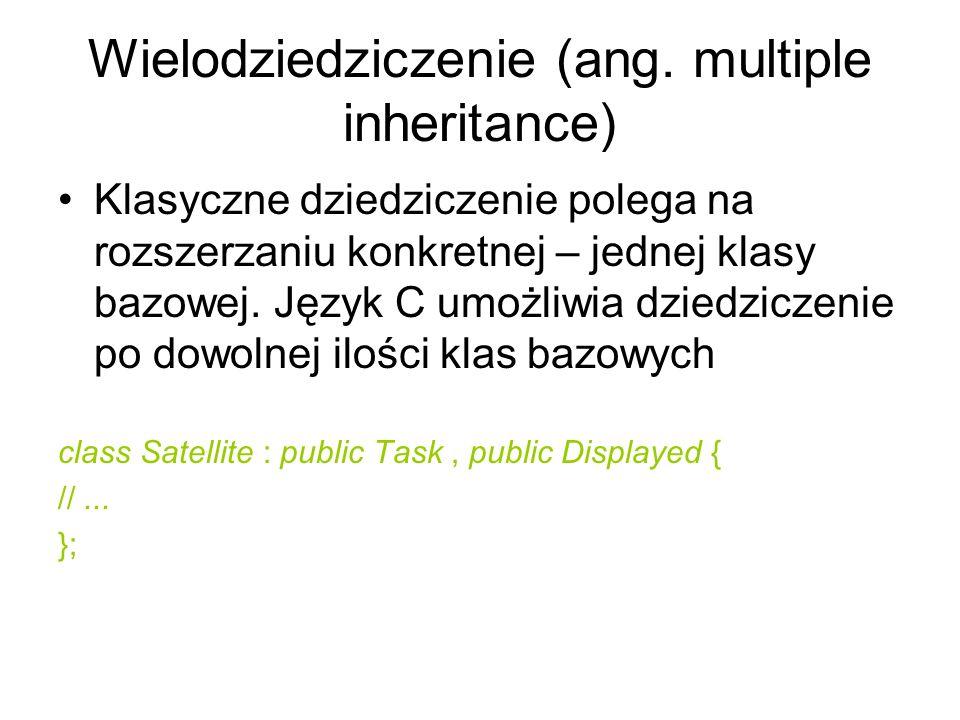 Wielodziedziczenie (ang. multiple inheritance) Klasyczne dziedziczenie polega na rozszerzaniu konkretnej – jednej klasy bazowej. Język C umożliwia dzi