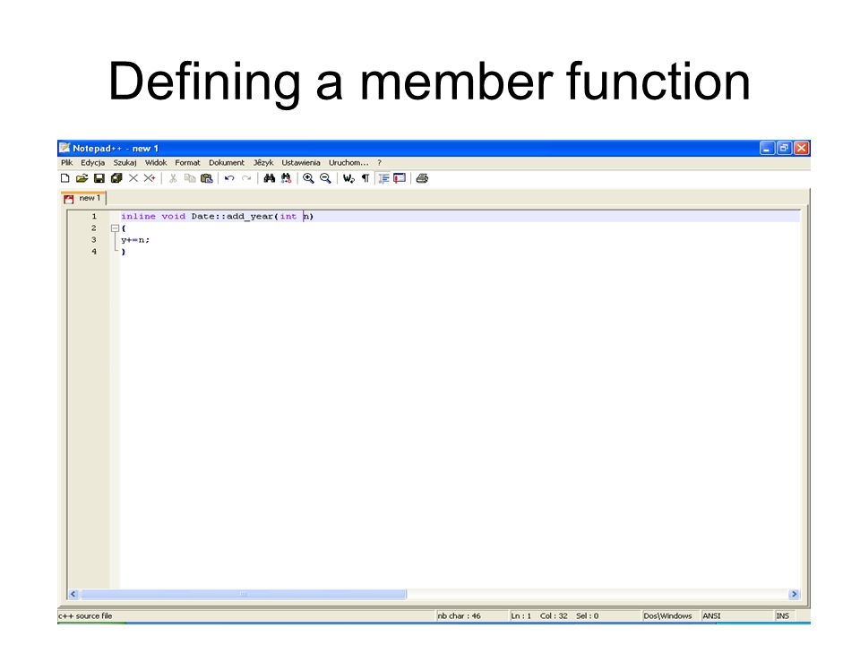Defining a member function
