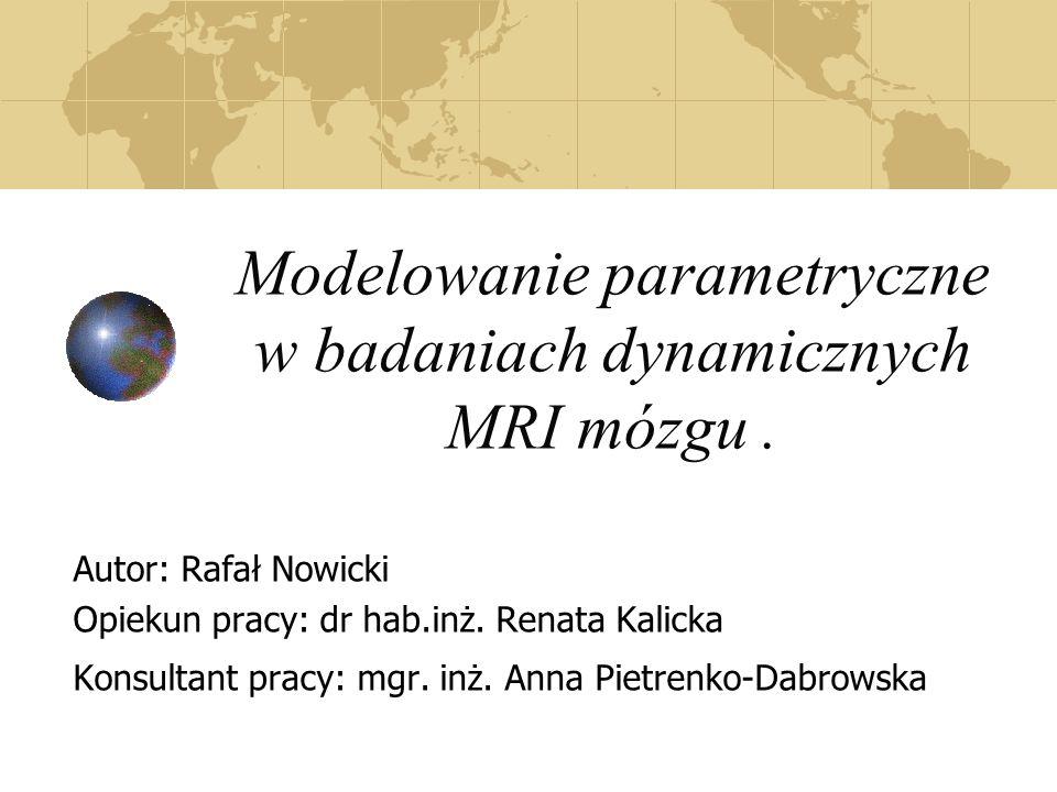 Modelowanie parametryczne w badaniach dynamicznych MRI mózgu. Autor: Rafał Nowicki Opiekun pracy: dr hab.inż. Renata Kalicka Konsultant pracy: mgr. in